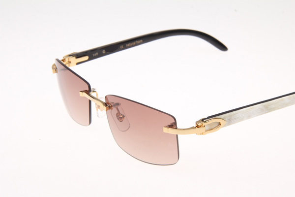 CT 3524012 White mix Black Buffalo Sunglasses In Gold Brown
