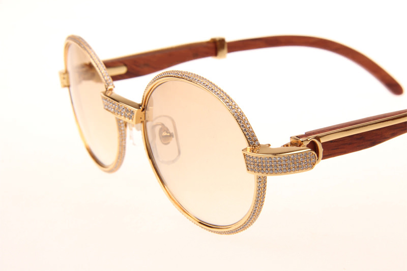CT 7550178 55-22 Full Diamond Wood Sunglasses In Gold Brown